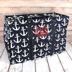 Navy Anchors Away Collapsible Haul-It-All Basket with Lid