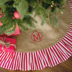 Burlap Christmas Tree Skirt with Red Striped Ruffle