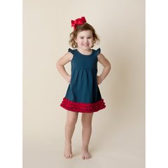 Girls Navy with Red Angel Sleeve Dress
