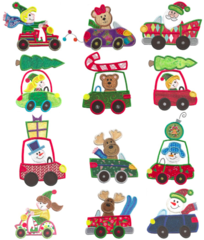 Christmas On Wheels Appliqué Designs