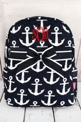 Navy Anchors Away Quilted Large Backpack