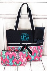 Lively Lobsters Quilted Diaper Bag