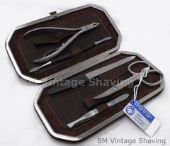 Dovo Manicure Set 5pc - Leather Dark Brown