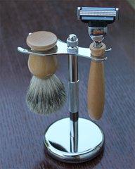 Beech wood Double edge razor & shaving brush stand