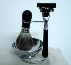 Ebony Shaving Set, 4pc