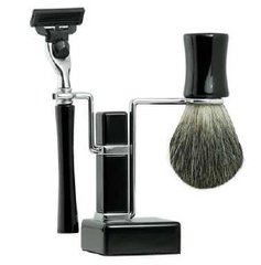 Shaving Set – Ebony Square Base Stand 3pc
