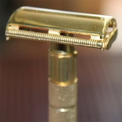 Long Handle Double Edge Safety Razor Gold