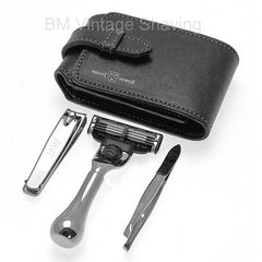 Edwin Jagger  travel shaving and grooming set in a black leather case
