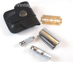 Merkur Travel Safety Razor - with Leather Case
