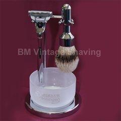 Merkur 4pc Shaving Set Mach3 Polished Finish