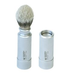 Dovo Silvertip Travel Shaving Brush - Stainless Steel Handle