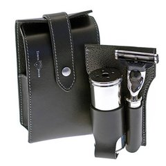 Edwin Jagger  travel shaving set in a Black leather case