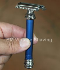 Merkur Barber Pole Double Edge Safety Razor 38C Alum Blue