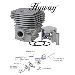 >HUSQVARNA 395, 395XP BIG BORE CYLINDER WITH 394 CONVERSION KIT NIKASIL 58MM