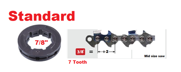 """RIM SPROCKET 3/8"""" pitch 7-tooth, standard 7/8"""" center 7 spline"""