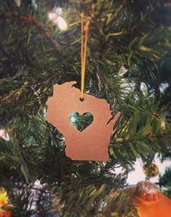 Love Wisconsin Christmas Ornament State Rustic Metal