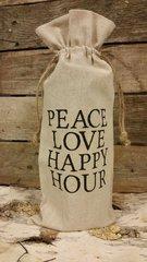 """Peace Love Happy Hour"" Wine Bag"