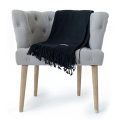 Fringe Throw Cashmere Feel Black