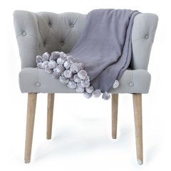 Pom Pom Throw Dove Gray
