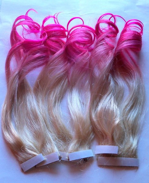 Hot pink and blonde ombre fade dip dye clip in human hair hot pink and blonde ombre fade dip dye clip in human hair extensions double layered pmusecretfo Choice Image