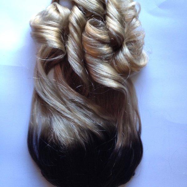 18 Inch Dark Brown To Ash Blonde Clip In 100 Remy Human Hair