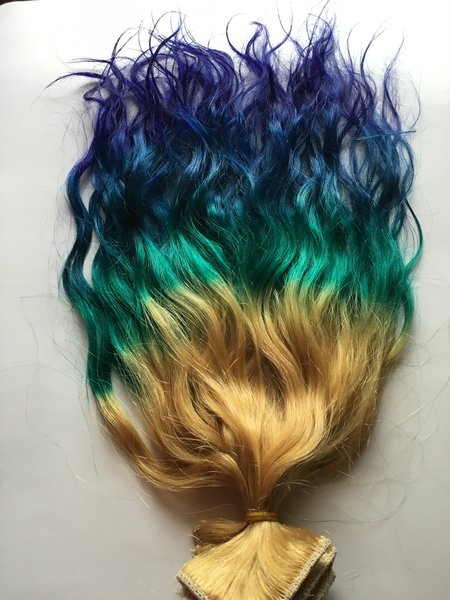 18 inch rainbow ombre blonde teal green blue purple clip in 100 18 inch rainbow ombre blonde teal green blue purple clip in 100 remy human hair extensions set pmusecretfo Image collections