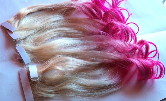 Hot pink and blonde ombre fade dip dye clip in human hair hot pink and blonde ombre fade dip dye clip in human hair extensions double layered large set pmusecretfo Choice Image