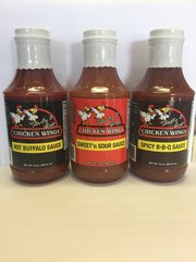 3-PACK VARIETY SAUCES OF SWEET'N SOUR, HOT BUFFALO AND B-B-Q