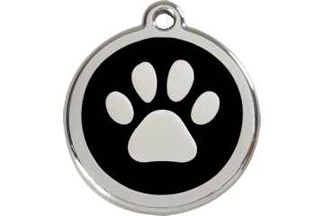 Red Dingo Paw Print Pet Tag
