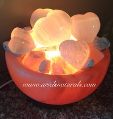 Selenite, himalayan salt , moonstone air and energy purification abundance bowl lamp