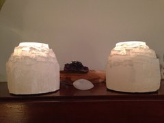 Pair Of 2 Selenite Candle Holders