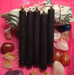 Set of 10 Black candles, 3 inches tall