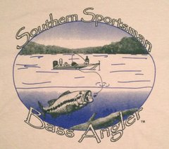 Southern Sportsman Bass Angler Short Sleeve T-shirt, Pebble Stone with Blue and Green Print