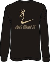 Just Shoot It Mens Long Sleeve T-Shirt, Black with Khaki