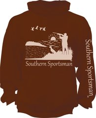 Southern Sportsman Duck Hunting Hoodie Brown with Khaki Print