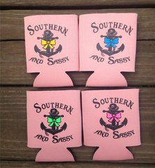 Southern and Sassy Anchor and Bow Koozies