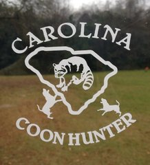 White Carolina Coon Hunter decal ( 4.5x4 )