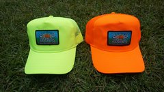 Neon mesh back trucker snap back caps with our fine woven patch logo