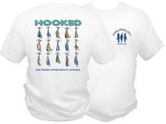 ' Hooked ' Dri Fit Fishing Shirt - White Short Sleeve