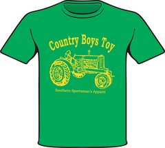Country Boys Toy Youth, Toddler, and Infant Short Sleeve and Long Sleeve Kelly Green Shirts printed with Yellow