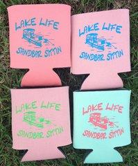 Lake Life Sandbar Sittin Koozies