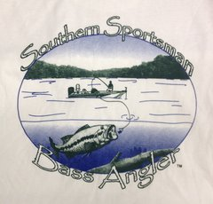 Southern Sportsman Bass Angler Short Sleeve T-shirt, White with Green and Blue Print
