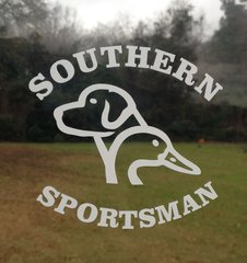 White and Khaki Southern Sportsman Duck / Dog design decal 4x4