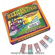 MEXICAN TRAIN DOUBLE 12 DOMINO GAME by PUREMCO with HUB, TRAIN MARKERS & TRAIN KEY CHAIN WHISTLE