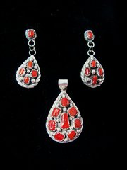 Red Coral and Sterling Silver Post Earrings and Necklace