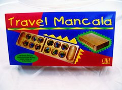 Mancala Travel Game Set-Folding Wood Board with Glass Beads