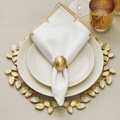 Gold and Linen Divot Napkin Set of 4