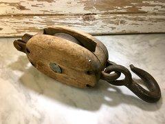 Vintage Wooden Steel Pulley
