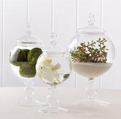 Set of 3 Globe Covered Jars Glass