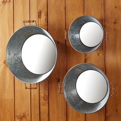 Wash Day Set of 3 Galvanized Washtub Wall Mirrors with Handles